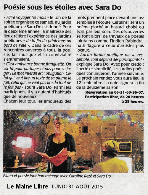 Article de Presse Sara Do Le maine libre lundi 31 août 2015.jpg