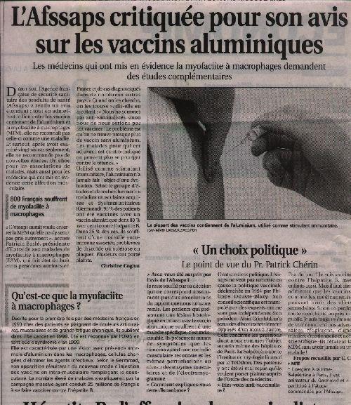 Vaccin: Article du journal Le Progrès du 05-07-04