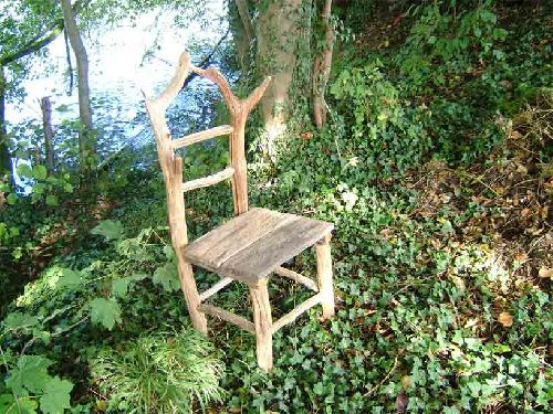 Chaise lampadaire art sculpture nature bois flotte for Chaise bois flotte