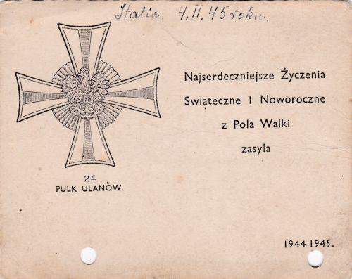 Carte de voeux du 24ème régiment de Lanciers