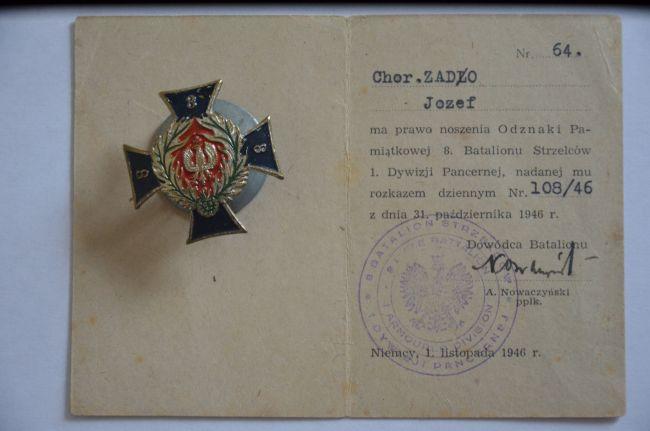 Legitymacja d'un officier du 8ème bataillon de chasseurs