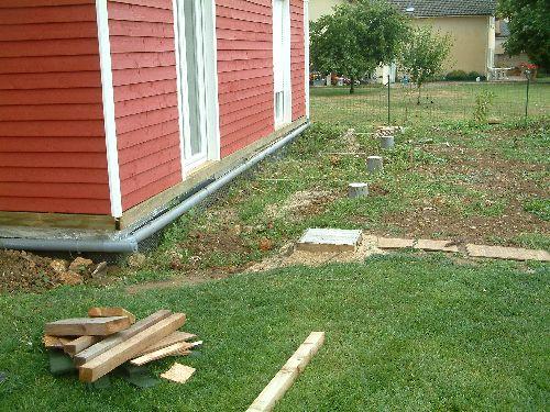 fabrication de la terrasse en bois autoconstruction maison bois bio climatique. Black Bedroom Furniture Sets. Home Design Ideas