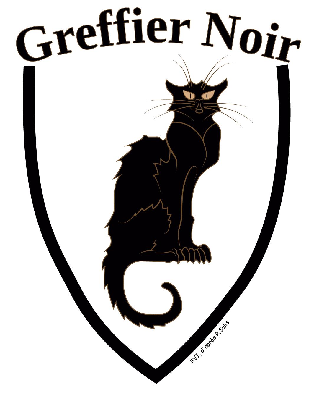Le blason du site Le Greffier Noir, réalisé par FVI d'après Le Chat Noir de Salis. Le Greffier Noir a été fondé le 20 mars 2015