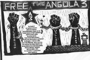 angola-three free the angola three affiche flyer de soutien Black Panthers