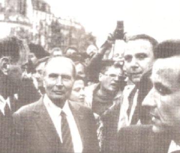 François Mitterrand à la manifestation