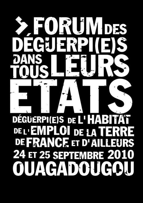 affiche du forum des déguerpis organisé en septembre dernier à Ouagadougou avec l'appuis du réseau No-Vox