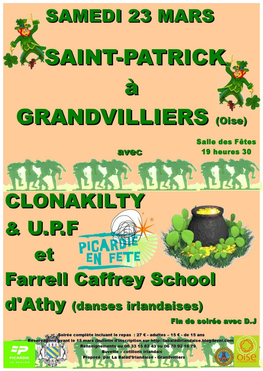 Soirée dîner-spectacle de la Saint-Patrick 2013 à Grandvilliers (60)
