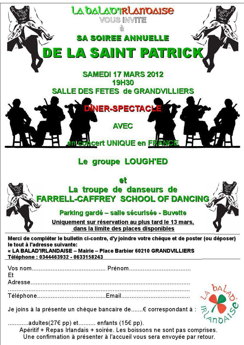 Soirée repas-spectacle de la Saint-Patrick à Grandvilliers (60)