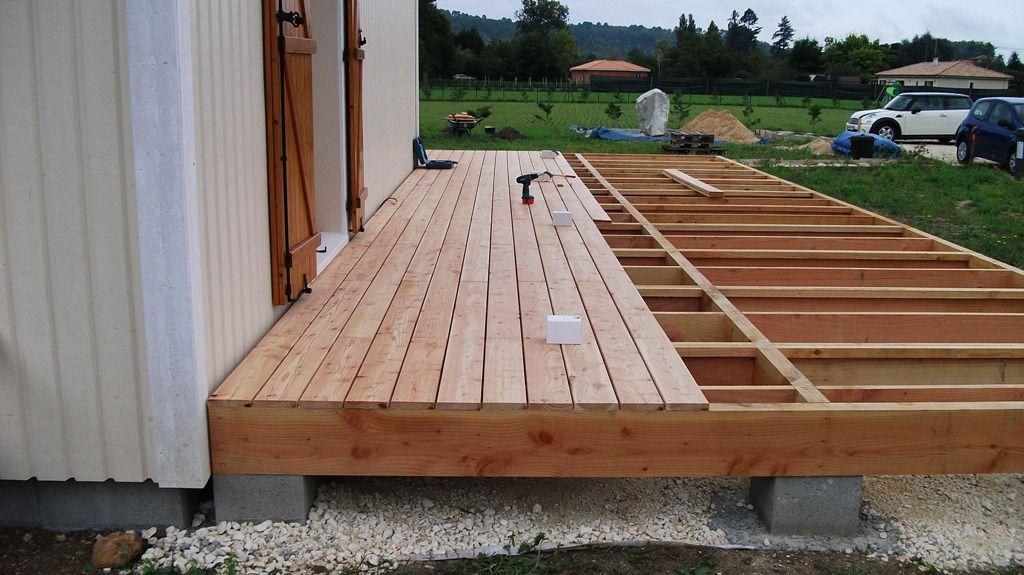 terrasse en bois de douglas et mélèze  Autoconstruction maison en