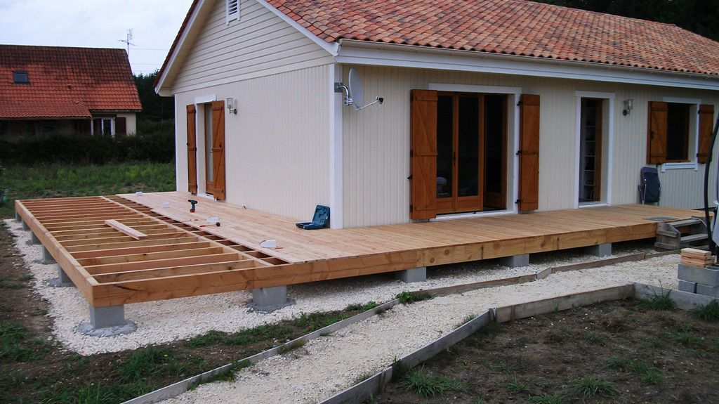 Autoconstruction d 39 une terrasse en bois de douglas et for Plan pour terrasse exterieur