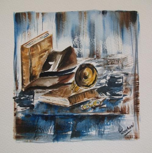 un chapeau des livres et une trompette....JPG