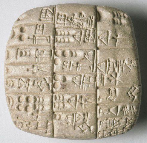 Ecriture cunéiforme sur tablette d'argile_vers 3500 av. J-C_Sumer, Mésopotamie