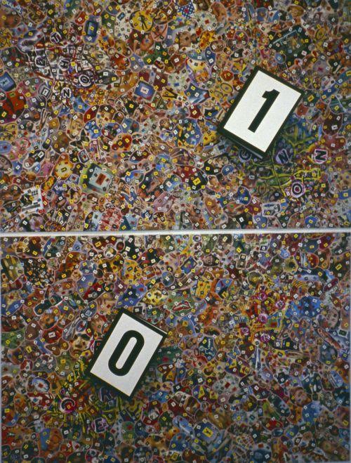 Carlos Ginzburg, série Computations ontologiques, 2002, collage, peinture acrylique, 2 classeurs fermés 0/1 sur chaque panneau, 2 x 1,5 m