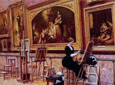 Louis Beroud Peintre copiant un Murillo au musee du Louvre.jpg