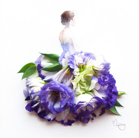 Mode et fleurs par lim zhi wei atelier portrait pastel for Aquarelle fleurs