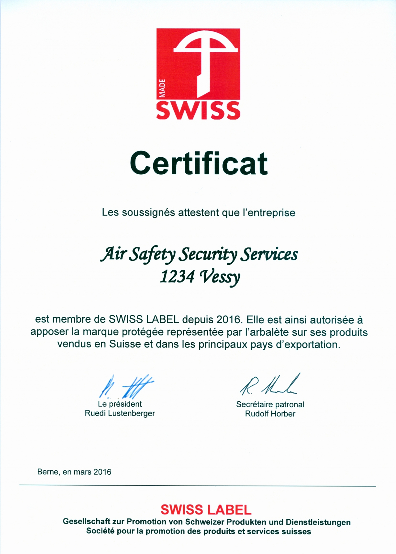 Certificat De Swiss Label Conseil Et Formation En Aviation Urgence Gestion De Crise