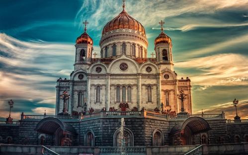 Russie - Moscou cathédrale coucher du soleil.jpg