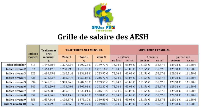 Salaire des aesh ex avs contrat de droit public - Grille de salaire education nationale ...