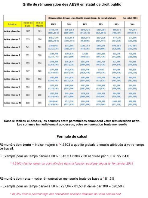 Salaire des aesh ex avs contrat de droit public - Grille de salaire fonction publique categorie c ...