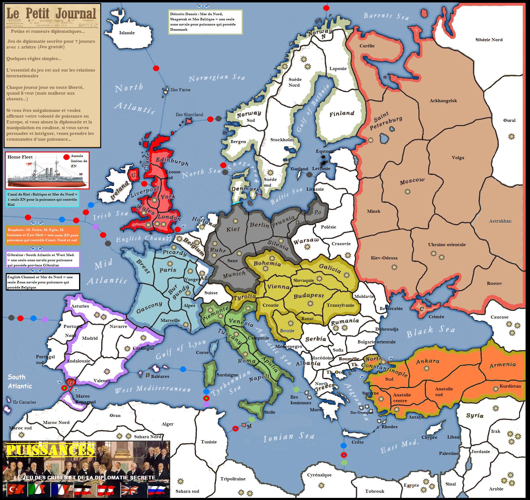 """Une partie de """"Puissances"""", jeu de diplomatie secrète : on recrute ! Puissances"""