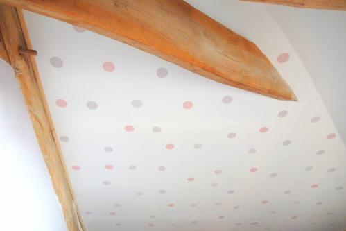 astuce utiliser des restes de peinture: des pois sur les murs