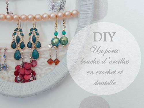 DIY un joli porte boucle d(oreille en crochet et dentelle