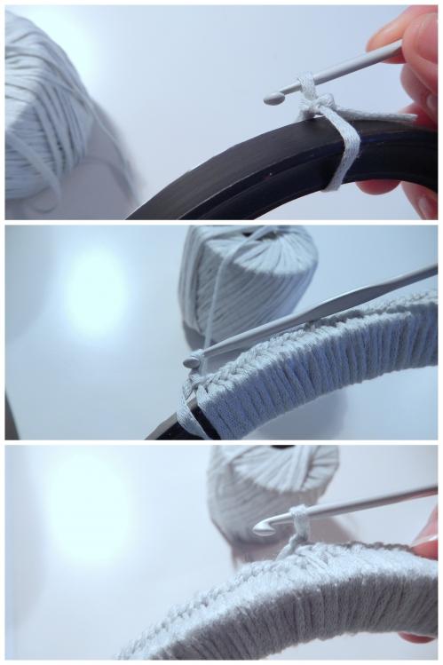 recouvrire le cadre avec la laine grace au crochet