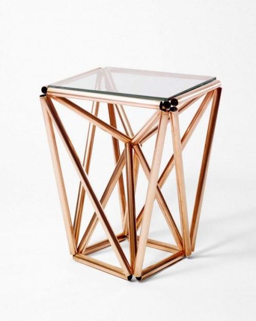 inspiration table en tube cuivrés