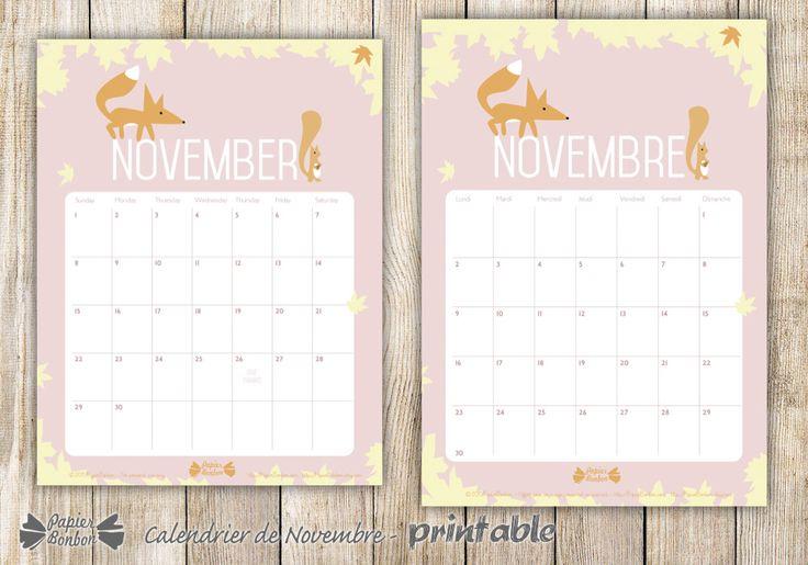 calendrier novembre par papier bonbon