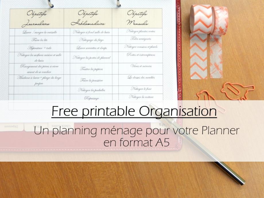 planning ménage free printable
