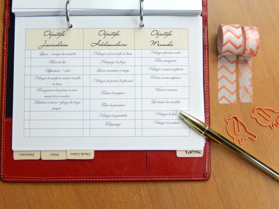 planning ménage free printable 1