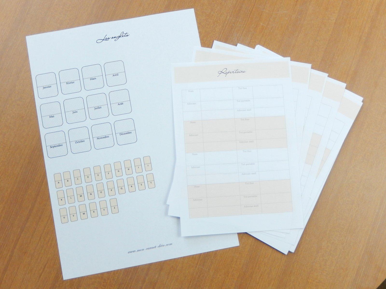 accessoires planner à imprimer gratuitement