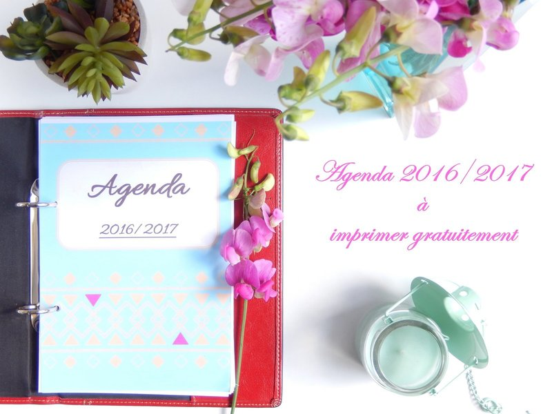 agenda 2016 / 2017 format a5 à imprimer gratuitement