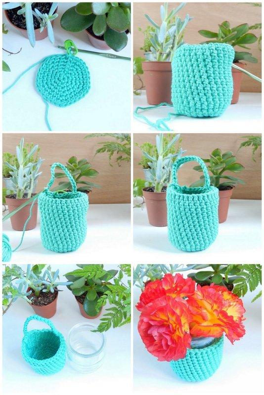 diy des vases muraux au crochet 2