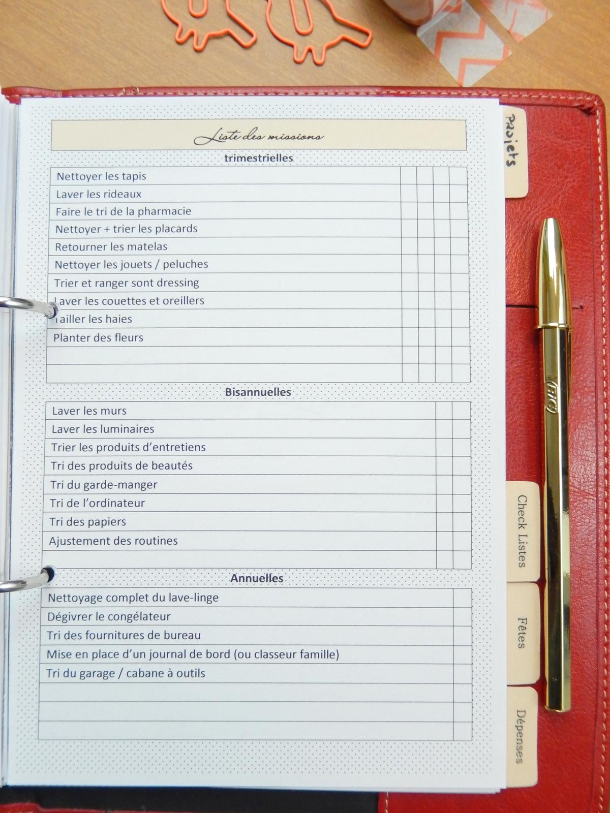 Organisation mon carnet d co diy organisation id es - Planning organisation menage ...