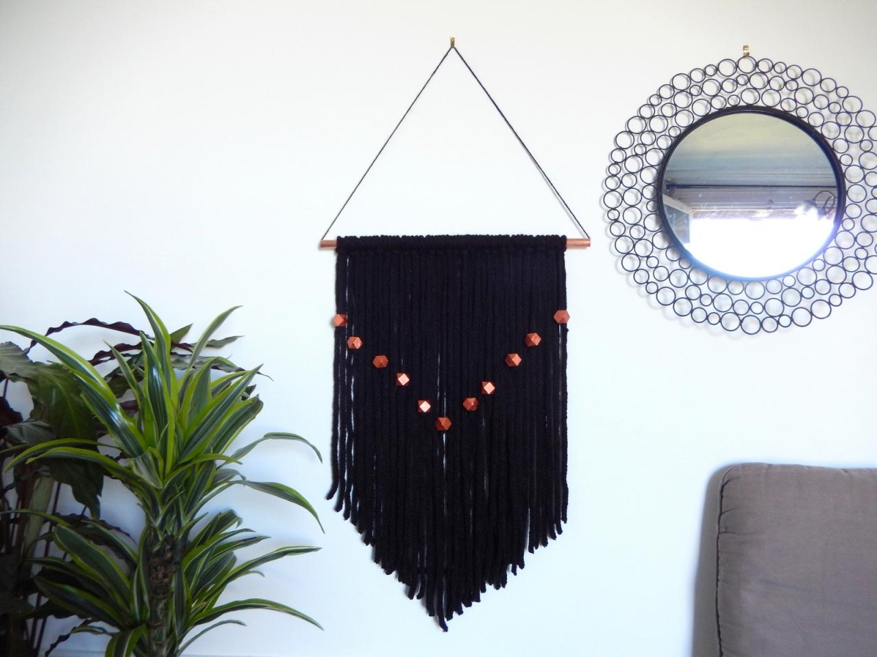 diy un tissage mural noir et cuivre so easy mon carnet d co diy organisation id es. Black Bedroom Furniture Sets. Home Design Ideas