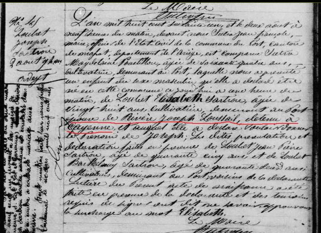 ° Joseph Loubet Sartrou 2-8-1861 fils de Joseph Rivère Loussail Le Port.PNG