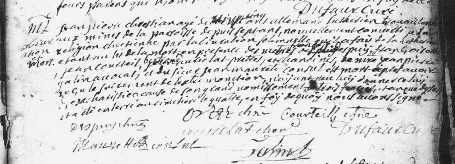 abjuration et mort d'un luthérien 1744 Massat.PNG