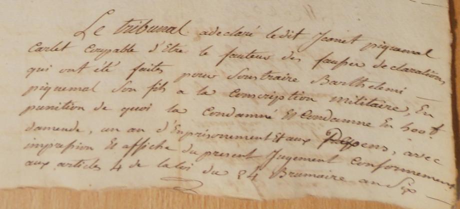 jugement contre Jeannet P Carlet père de Barthélémy procès 1806.PNG