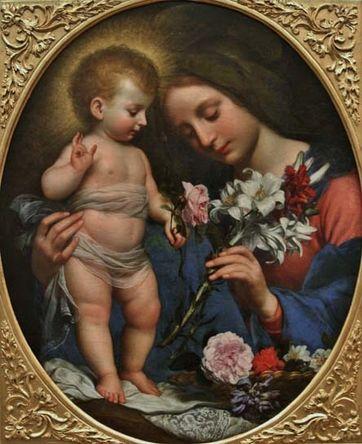Carlo Dolci la Vierge offrant un lys à l'Enfant Jésus.jpg