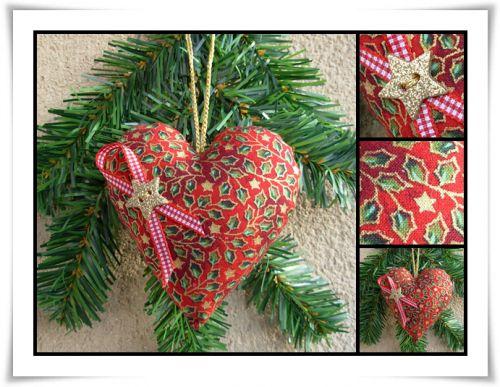 Coeur en tissu à suspendre ~ Noël ~ rouge