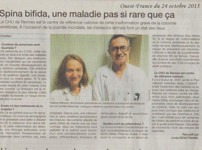 article Ouest-France du 24 octobre 2015 journée spina 25 octobre.png