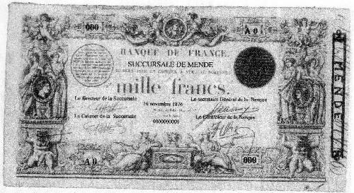 Billet de 1000 francs type succursale de 1862
