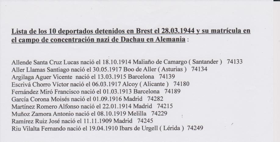 Liste des 10 déportés arrêtés à Brest le 28 mars 1944[11132]