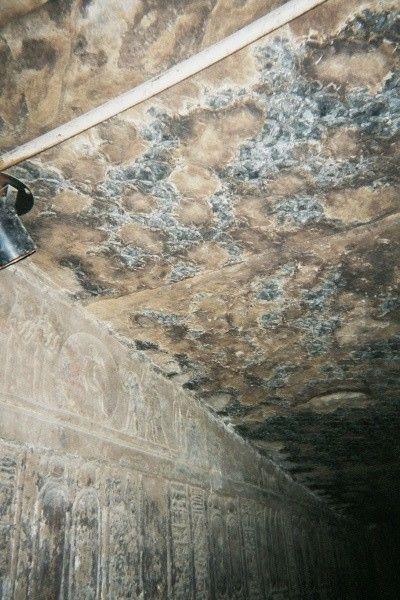 Traces de mosissures dans l'un des  temples de Dendérah