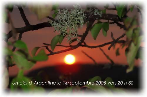 Argentine : le soleil se couche au soir du premier septembre