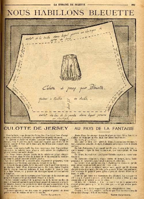 Bleuette 1919 - Culotte de jersey