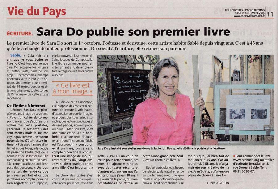 Sara Do article Les Nouvelles L'écho Fléchois du 24 septembre 2015.jpg