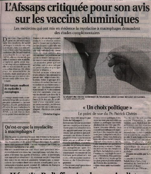 Vaccin: Article du journal Le Progrès du 05-07-04