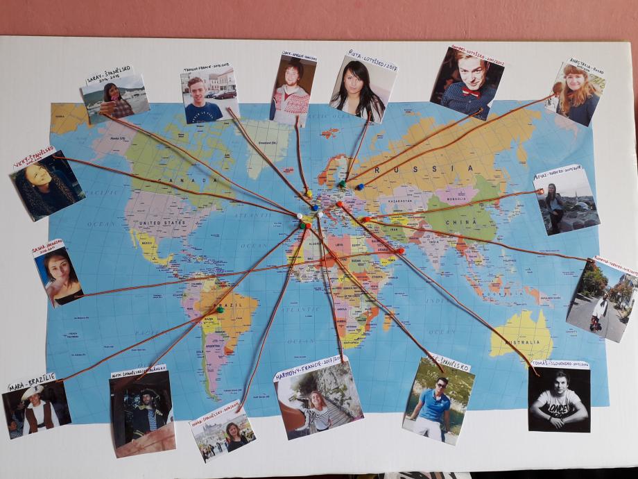 La carte de tous les volontaires ayant participés au SVE à Mikádo.